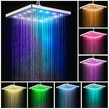 Bathroom Seven Colors Light Led shower head 8-inch Square Shower Top Spraying