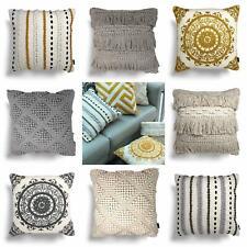 "Rocco Filled Cushion Tassel Pom Pom Cotton Boho Embroidered Cushions 17"" x 17"""