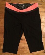 NWT Womens TANGERINE Black / Coral Yoga Capri Workout Active Pants Size Large L