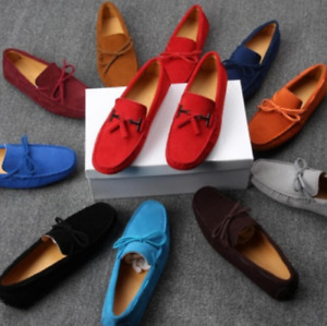 Casual Mens Bowtie Loafers Gommino Moccasins Suede Driving Slip On Boat Shoes