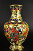 Chinese copper Cloisonne enamel dragon&phoenix flower beautiful vase