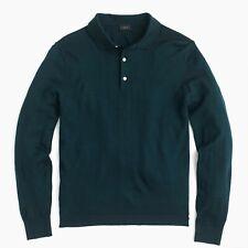J. Crew Men's Italian Merino Wool Polo Sweater Forest Green Sz M G8236 NWT