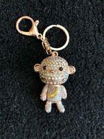 1 X Gold Monkey Rhinestone keyring bag charm car house key Gift bling