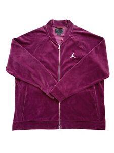 Air Jordan Velour Full Zip Retro Jacket Bordeaux AH2357-609 Men Size 3XL