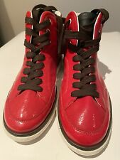 New SAMPLE DOLCE & GABBANA High-Top Patent Leather Sneaker Shoes Size 8