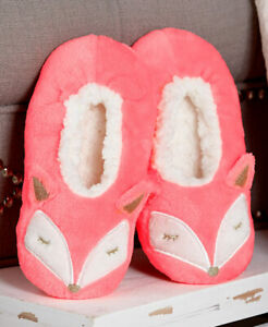 FUZZY BABBA WOMEN'S BRIGHT CORAL FOX CRITTER SLIPPERS SIZE M/L 8-10.5