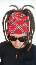 Red tartan Dreadlock Headband/dread sock/wrap - Lightweight, soft, comfortable