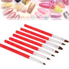 7pc/set Red UV Gel Nail Art Brush Polish Painting Pen Kit For Salon Manicure DIY