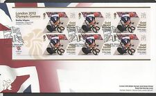 GB 2012 Official FDC Olympics Sheetlet 1st aug Bradley wiggins 6 stamps