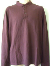 """NEW £40 SUPERDRY LARGE 40"""" CHEST DARK BURGUNDY MARL LONG SLEEVE CITY POLO TOP"""