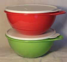 Tupperware 2 THATSA BOWLS JR Mixing Serving Christmas Red Green~12 Cup~BRAND NEW