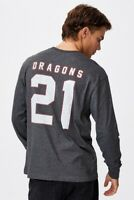 St George Illawarra Dragons NRL 2021 Cotton On Long Sleeve Number Shirt Sizes S-