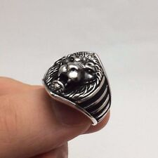 Turkish Jewelry Cool Lion Face Motif 925K Sterling Silver Men's Ring