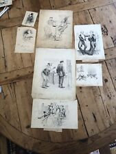 Original Seven pen and ink drawings by Charles Jay Taylor - Puck