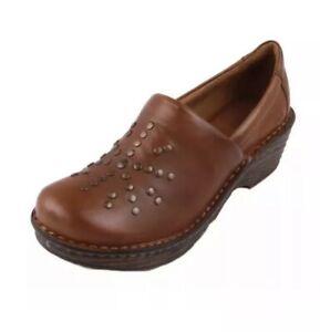 NEW Born Surina Womens Mocha Brown Full-Grain Leather Comfort Clogs Shoes sz 7.5