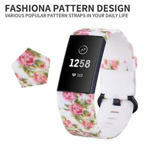 for Fitbit Charge 3 & 4 Pattern Replacement pattern Strap Band Metal Schnalle