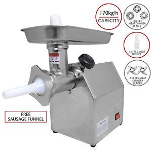 Meat Grinder Electric Mincer Commercial Sausage Maker Filler 850W Butchers Steel