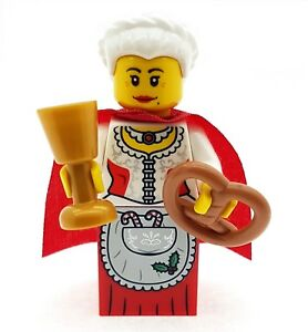 LEGO Mrs Christmas  Claus Minifigure with Bread & Goblet Santa Helper NEW