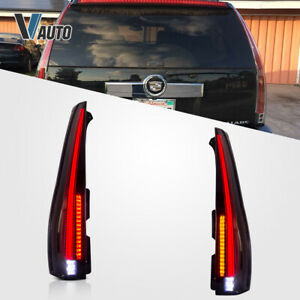 For 2007-2014 Cadillac Escalade LED Tail Lights Assembly Rear Lamp Smoked Tinted