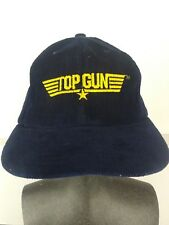 Vtg TOP GUN Blue Corduroy BASEBALL HAT Pilot Cap SNAPBACK One Size Movie