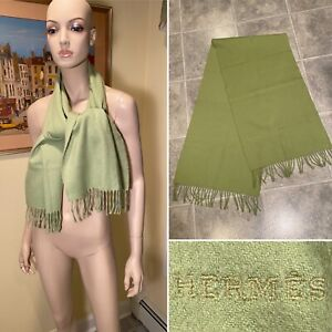 """Authentic HERMES 100% Cashmere Pea Green 59""""X15"""" Fringed Scarf Wrap"""