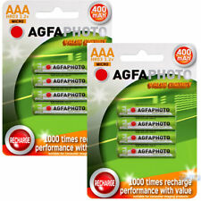 8 x AGFA AAA Rechargeable Home Phone Batteries Power 400mAh 1.2v small size
