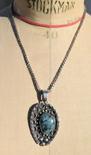 COLLIER PENDENTIF NAVAJO STERLING 925 TURQUOISE