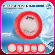 10PCS Syringe Filter 0.22μm PTFE Membrane High Purity non-sterile Hydrophobic