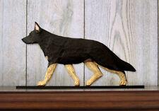 German Shepherd Dog Figurine Sign Plaque Display Wall Decoration Black w/ Tan Po