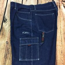 FUBU Men's Cargo, Carpenter Jeans Logo Dark Wash Big and Tall 40X34 (A12-74#15)
