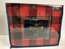 New! Pendleton Rob Roy Red/Black Plaid Flannel 100% Cotton 4 pc. Twin Sheet Set