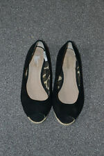 TOP SHOP womens black open  toes flat espadrille summer shoes size 37