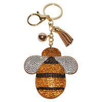 Honey Bee Keychain Women Crystal Bag Charm Girls Backpack Clip On Bling Purse