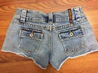 Zana Di size 1 Juniors Blue Jeans Mini Shorts Metal Charm Flap Pockets