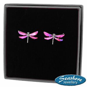 Dragonfly Earrings Pink Paua Abalone Shell Silver Fashion Jewellery Gift Boxed