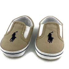 Ralph Lauren ~ Infant Baby Kids Beige Brown Crib Shoes EUC ~ 1 Slip On