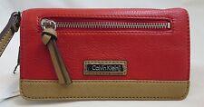 CALVIN KLEIN Lipstick RED Saffiano Leather Wallet Wristlet Organizer Clutch NWT