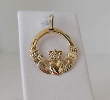14K Gold Diamond Cut Celtic Ireland Irish Claddagh Charm Pendant 2 gr