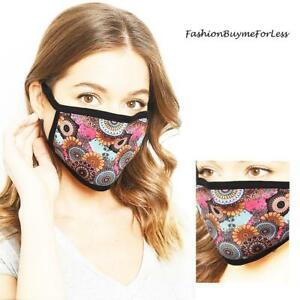 Haute Pink Multicolor Medallion Print Washable Reusable Cotton Fashion Face Mask