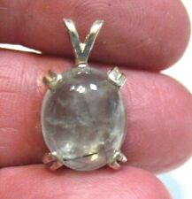 STERLING SILVER GREEN RUTILATED QUARTZ PENDANT 10 X 15 MM 2.2 GRAMS