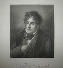 19ème Portrait de CHATEAUBRIAND - 1817 - Gravé d'après GIRODET-TRIOSON