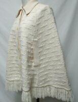 Cuddle Knit Vintage Wool knit Poncho Cape Sweater Fringe One Size OSFM S M L XL