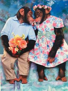 """No, YOU'RE Smoochy!"" VALENTINE'S DAY CARD Avanti KISSING CHIMPANZEE MONKEYS"