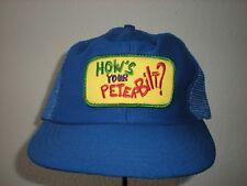 Vintage HOW'S YOUR PETERBILT? Mesh Snapback Trucker Trucking Farmer Hat Cap