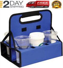 New listing Reusable Cup Carrier Holds 6 Cups or Cans Sturdy Frame & Solid Base