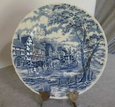 """Royal Wessex England Blue Cottage Carriage Coach Horses Scene Dinner Plate 10"""""""
