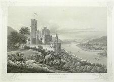 KOBLENZ - Schloss Stolzenfels - Theophil Beck - Aquatinta 1845