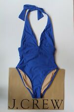NEW J Crew Plunging Halter One Piece Swimsuit H2807 $98 BLUE 6 Small