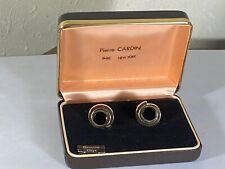 Pierre Cardin Mens Genuine Onyx Cufflinks Yellow Gold Tone Original Box Vintage