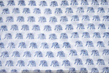 5 yard Running 100% Cotton Voile Fabric Blue Multi Sewing HandBlock Print Craft